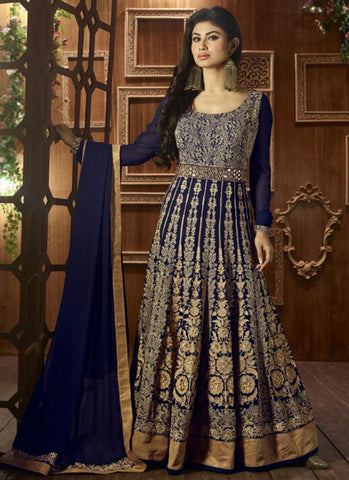 Navy Blue Georgette Bridal Anarkali Suit