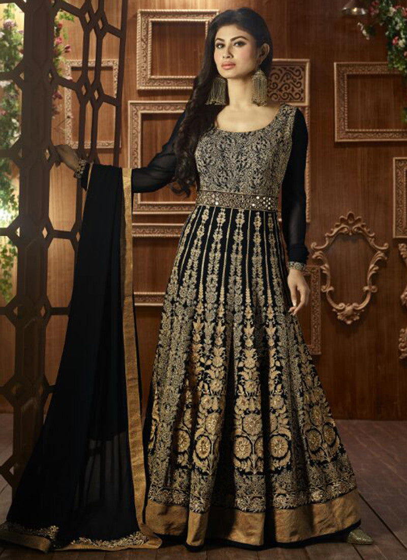 Black Georgette Bridal Anarkali Suit