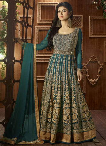 Green Georgette Bridal Anarkali Suit