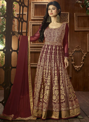 Maroon Georgette Bridal Anarkali Suit