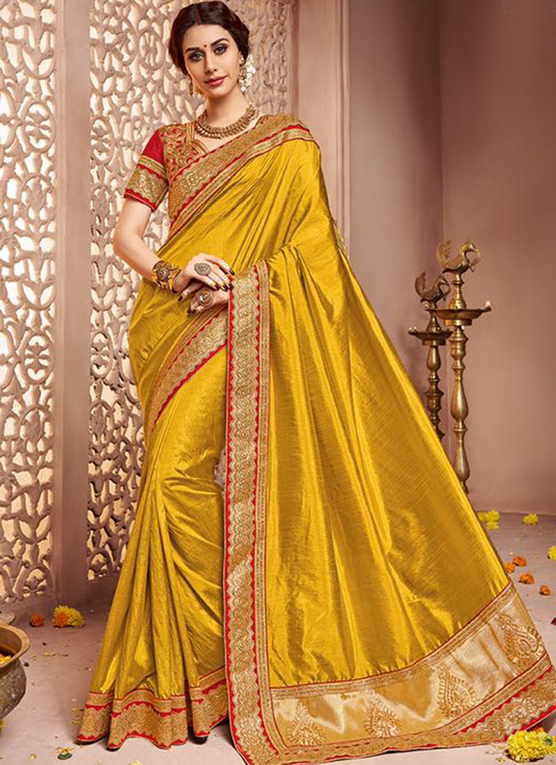 Golden Art Silk Party Wear Heavy Embroidered Saree