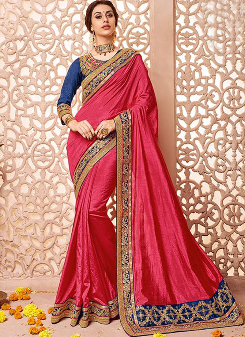 Mild Red Art Silk Party Wear Heavy Embroidered Saree