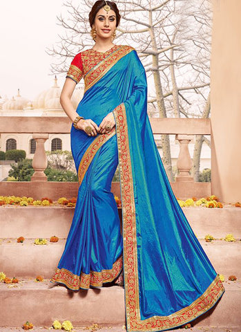 Sky blue Art Silk Party Wear Heavy Embroidered Saree