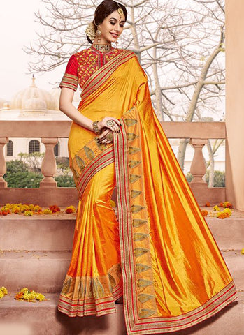 Orangish Gloden Art Silk Party Wear Heavy Embroidered Saree