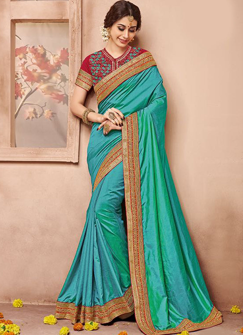 Turquoise Art Silk Party Wear Heavy Embroidered Saree