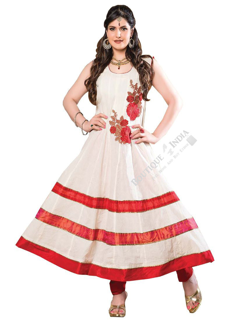 Heavy Work Anarkali Style Collection - Light Orange, Maroon, Black And Golden  Ready To Stitch Material / Beautiful Anarkali Style Long Salwars With Dazzling Embroidery Work / Party / Special Occasions / Wedding / Casual - Ready to Stitch - Boutique4India Inc.