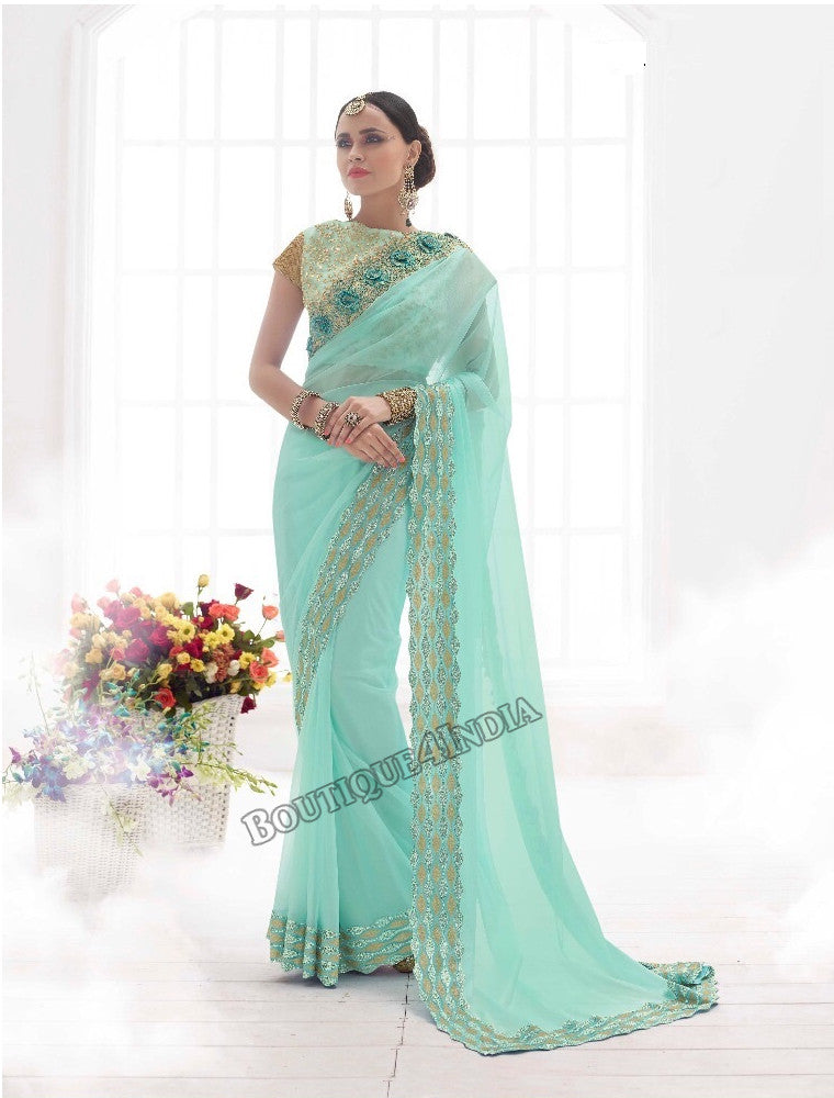 Light Green Bridal Designer Wedding Saree