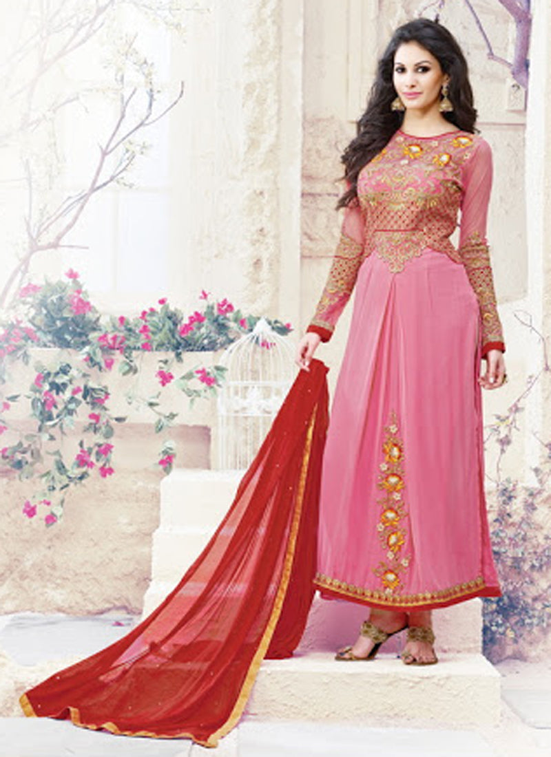 Pink Georgette Straight Salwar Suit