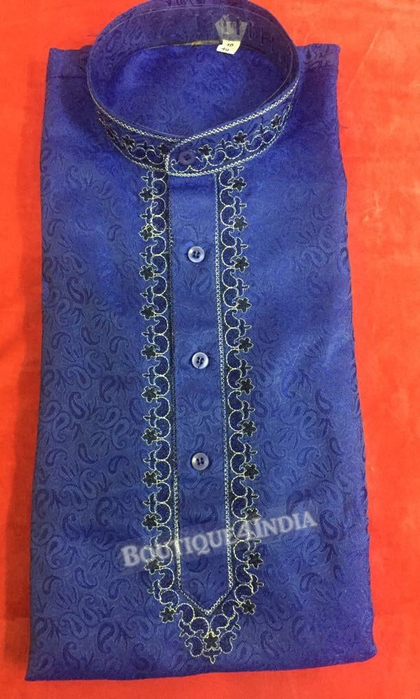 Navy blue Silk Cotton Men's Kurta pyjama
