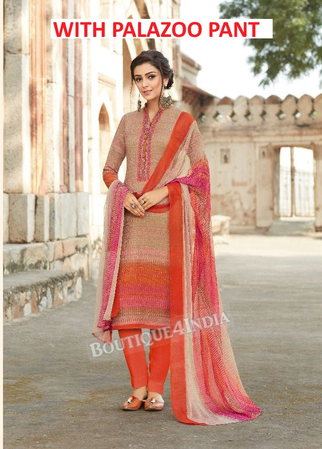 Grey & Orange Printed Pashmina Palazoo Suit