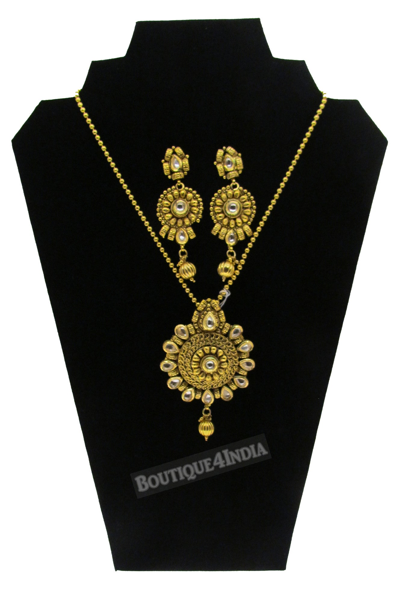Designer style long Kundan Necklace with matching Earrings set