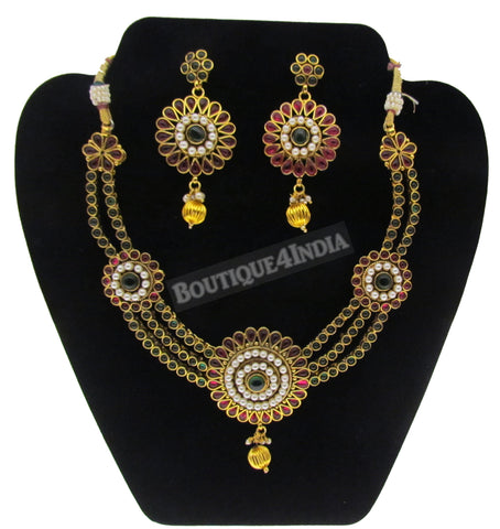 Maroon green flower like kundan necklace set