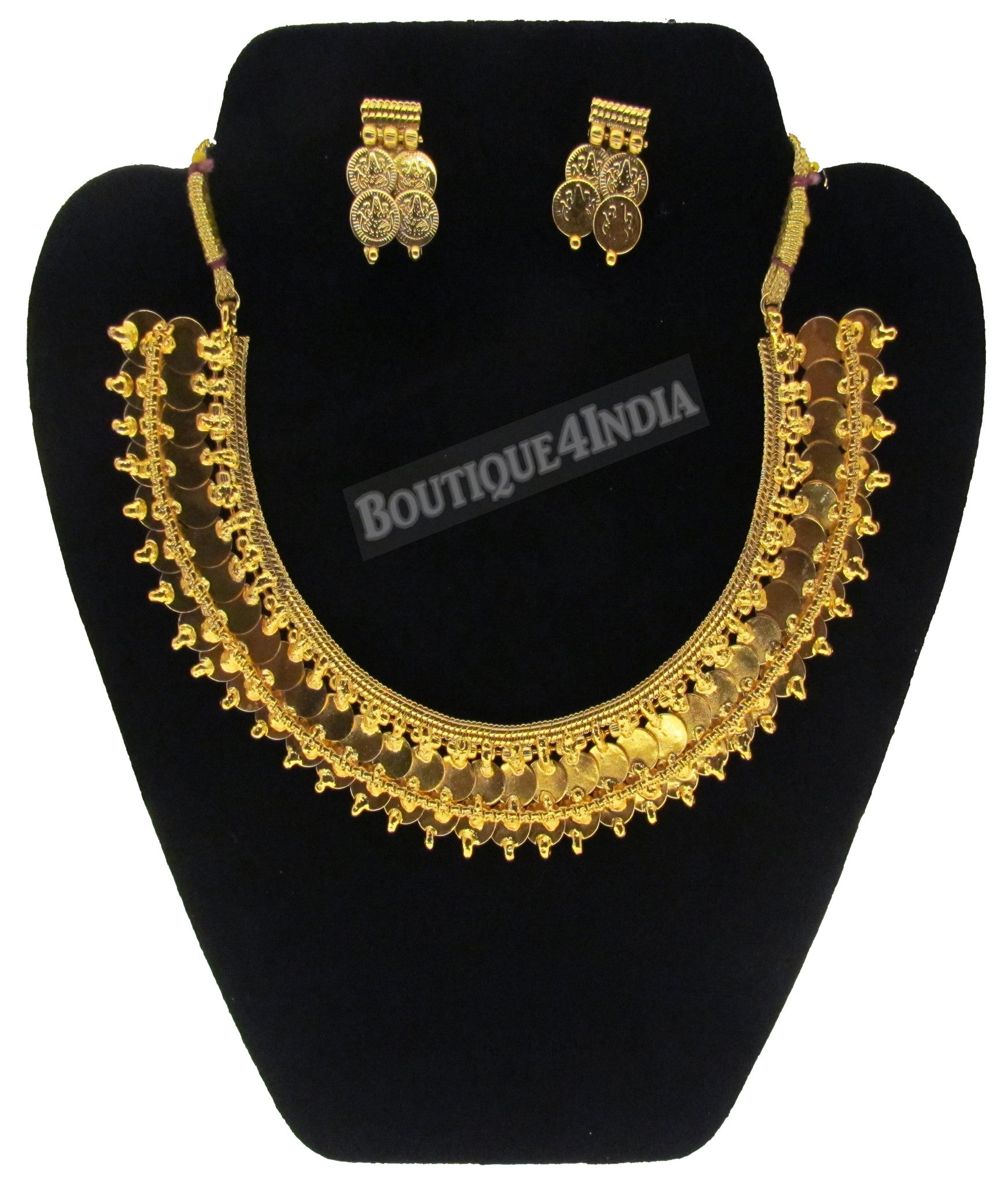 Two layered coin ginni gold plated temple antique necklace earring set