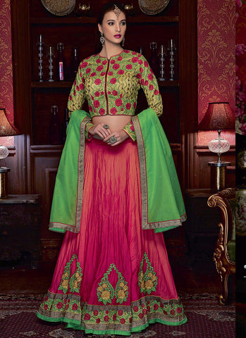 Pink Satin Jacket style Grand Bridal Lehenga Choli