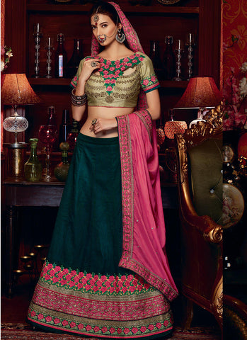 Green Lino Jacket style Grand Bridal Lehenga Choli