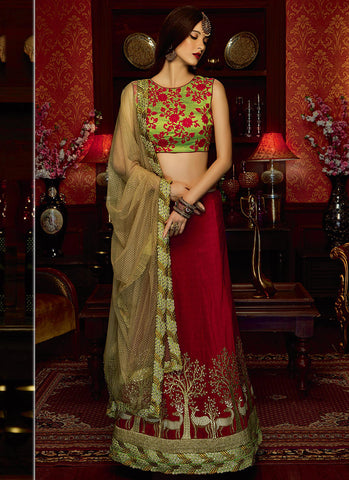 Maroon Art Silk Grand Bridal Lehenga Choli