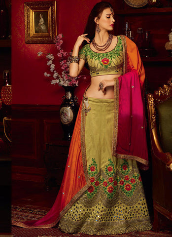 Light green Art Silk Grand Bridal Lehenga Choli