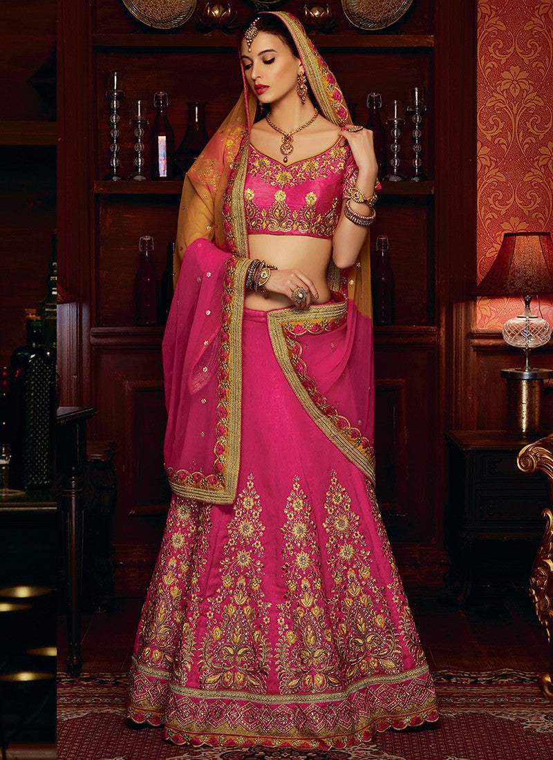 Pink Art Silk Bridal Grand Bridal Lehenga Choli