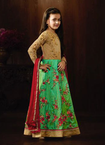 Girl's green raw silk Embroidered Anarkali Suit