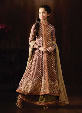 Girl's Brown Georgette Anarkali Suit