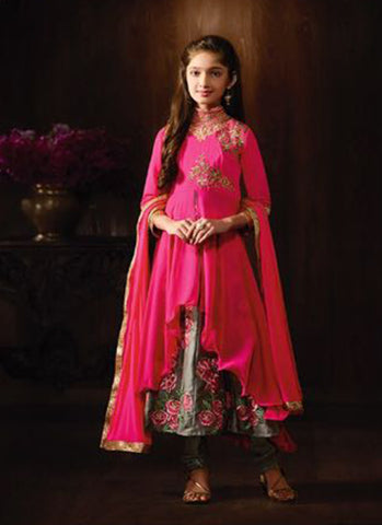 Girl's Pink Georgette Embroidered Anarkali Suit