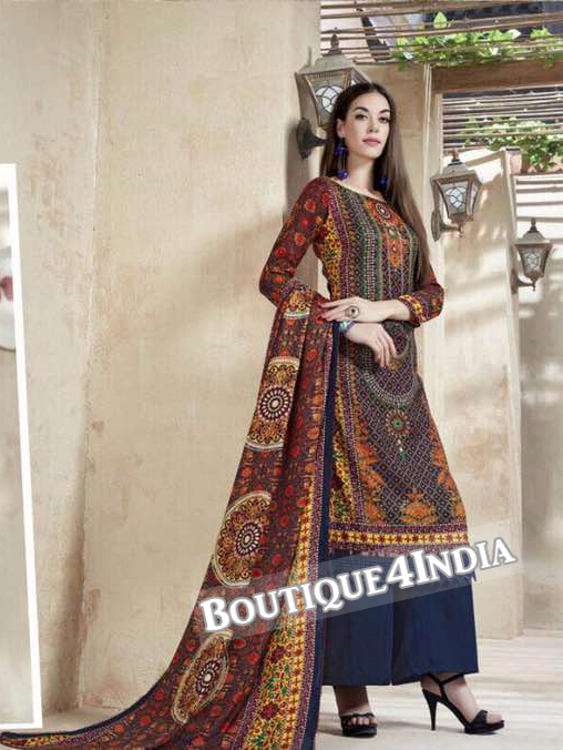 Multicolor Printed Pashmina Salwar Suit