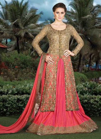 Beige and Pink Net Bridal Anarkali Suit