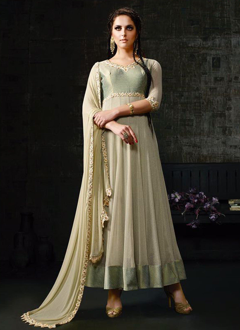 Light Green Banarasi Silk Embroidered Anarkali Suit