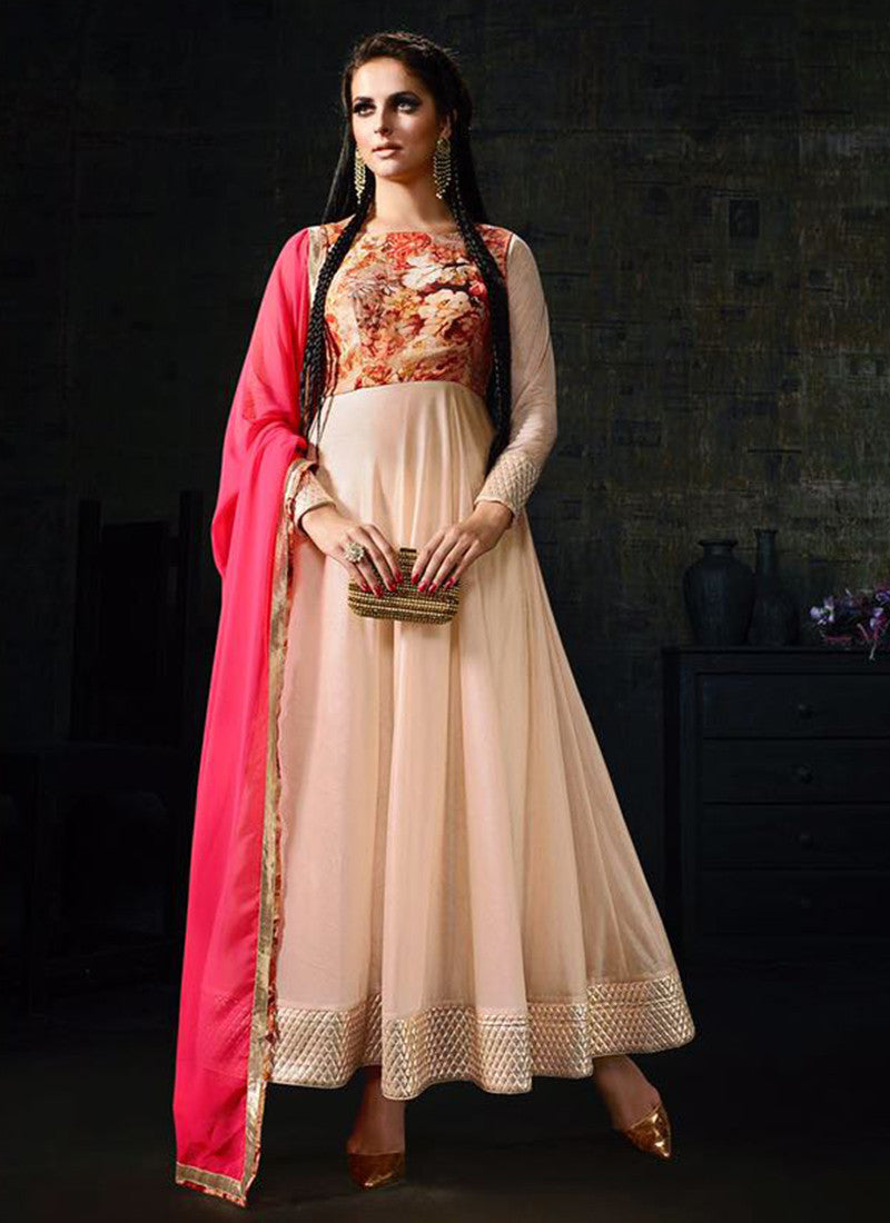Light Peach Lycra  Embroidered Anarkali Suit