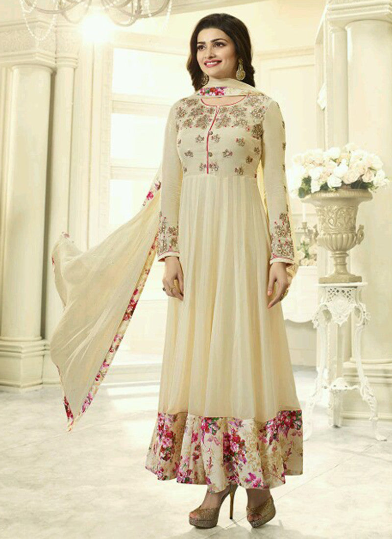 Georgette Cream Embroidered Anarkali Suit