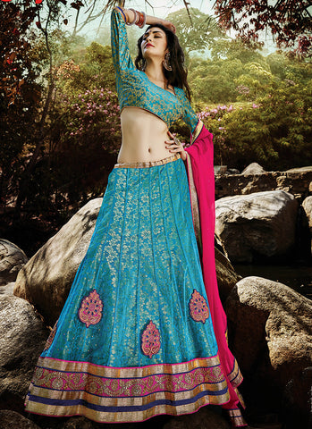 Light Blue Net Embroidered Wedding Lehenga Choli