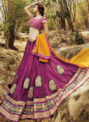 Magenta Net Embroidered Wedding Lehenga Choli