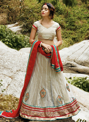 Cream Net Embroidered Wedding Lehenga Choli