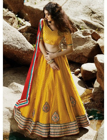 Yellow Net Embroidered Wedding Lehenga Choli