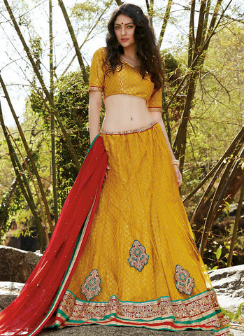 Yellow Net Embroidered Wedding Lehenga CholiLehenga CholiLehenga Choli