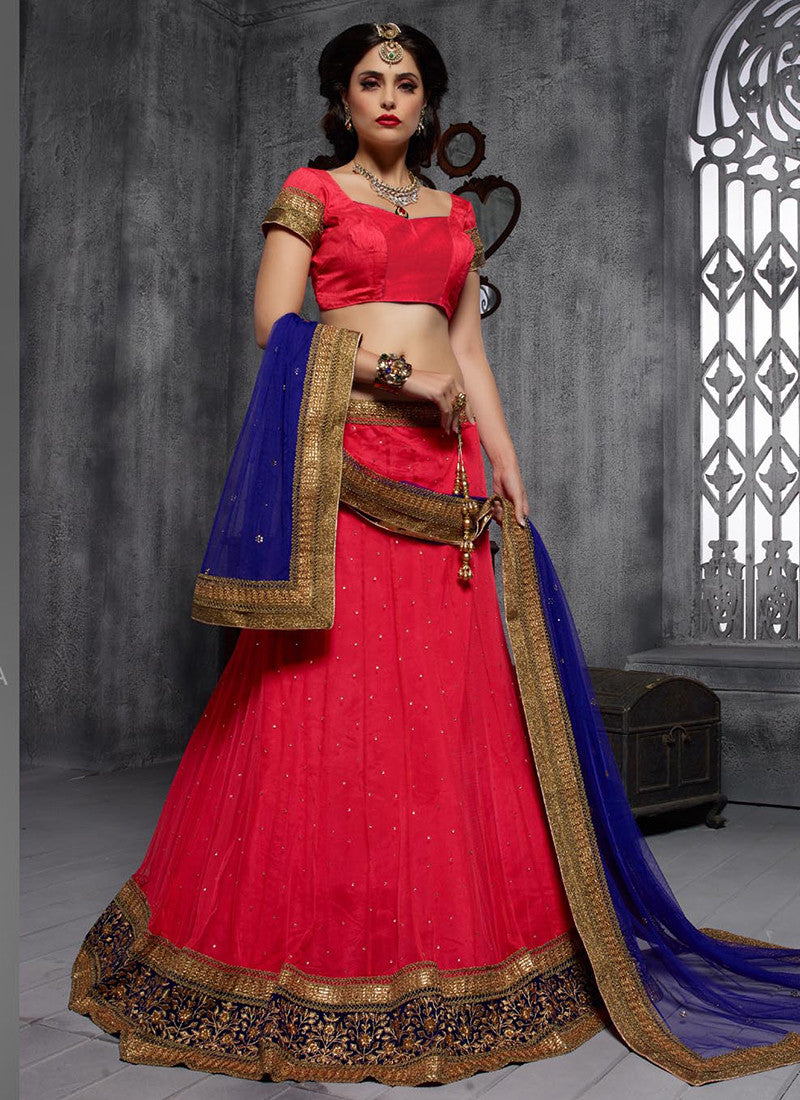 Red Embroidered Party Lehenga Choli