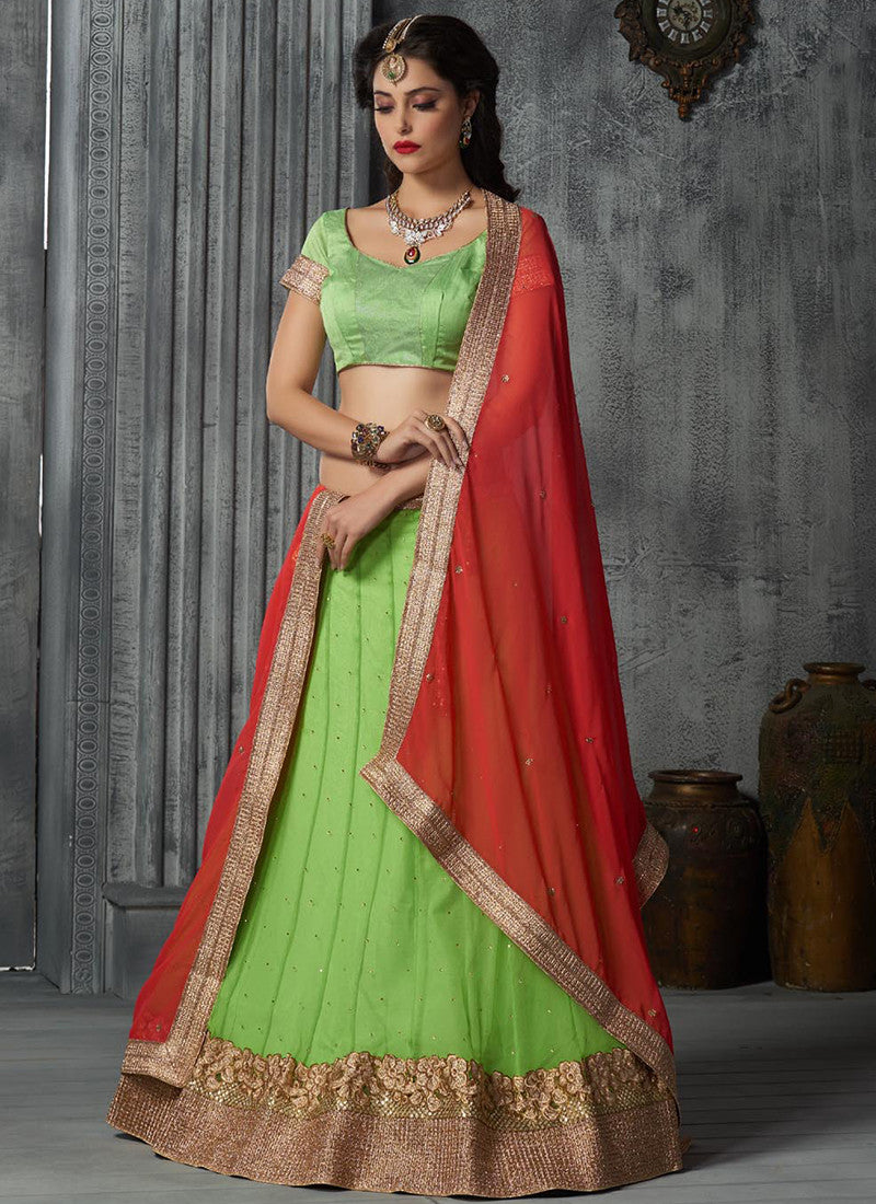 Green Net Embroidered Wedding Lehenga Choli
