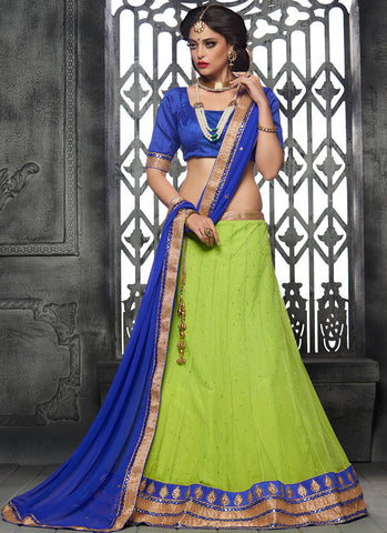 Light green Net Embroidered Wedding Lehenga Choli