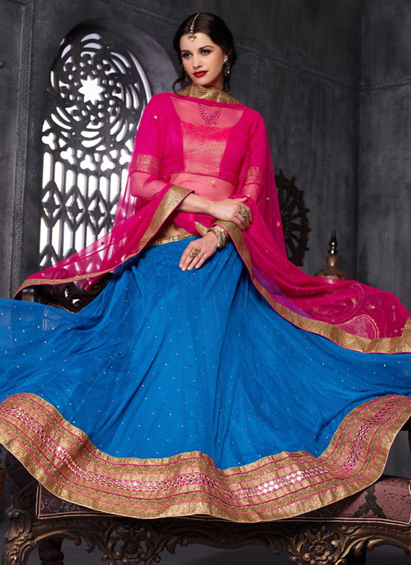 Dark blue Net Embroidered Wedding Lehenga Choli