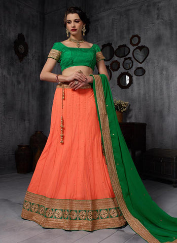 Orange Net Embroidered Wedding Lehenga Choli