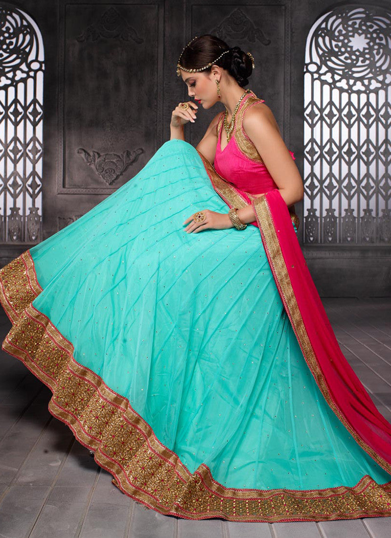 Light turquoise Embroidered Wedding Lehenga Choli