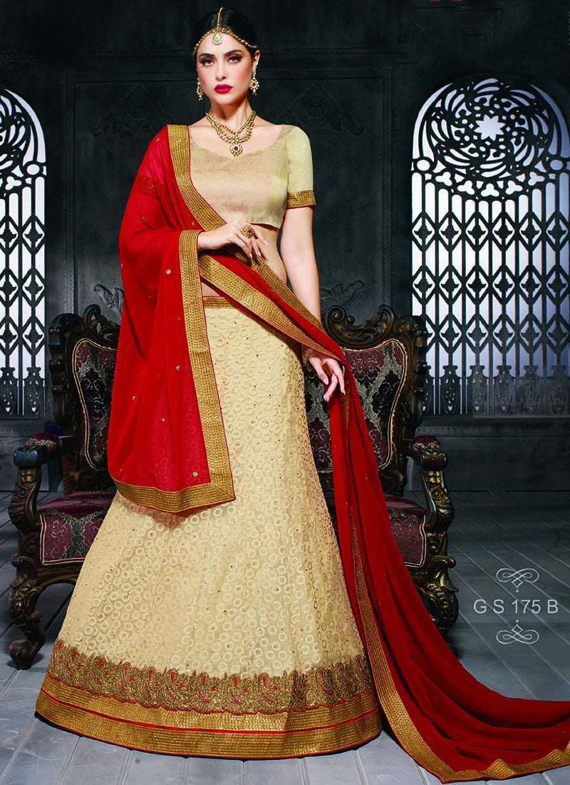 Golden Net Embroidered Wedding Lehenga Choli