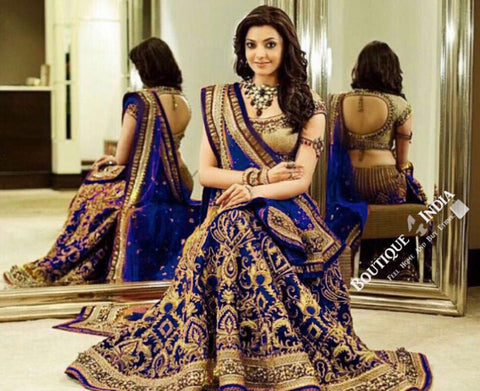 Gorgeous Bridal Lehnga - Royal Blue And Golden Semi Stitched Bridal Lehnga With Embroidery Peal And Jhumka Work. Stunning Collections For Wedding, Party, Festival, Special Occasion - Semi Stitched, Blouse - Ready to Stitch - Boutique4India Inc.