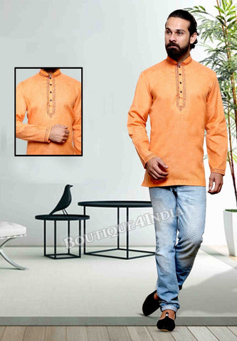 Saffron Cotton Men's Kurta
