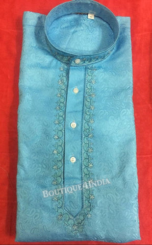 Sky blue Silk Cotton Men's Kurta pyjama