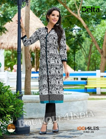 Black&white Self Design and printed Cotton Kurti