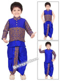 Boys Blue and Gold 6 in 1 Kurta Pyjama dhothi