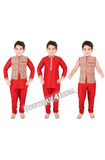 Boys Red and Golden 6 in 1 Kurta Pyjama dhothi