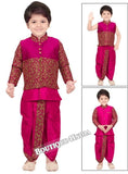 Boys Purple and Golden 6 in 1 Kurta Pyjama dhothi