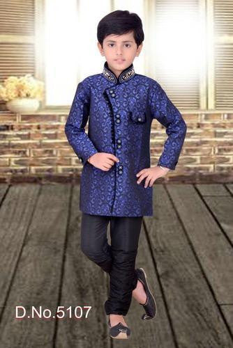 Boy's - Royal Blue And Goldenish Cream  Sherwani Suits - Boy's Party And Wedding Collection Sherwani Suits For Special Occasions - Boutique4India Inc.
